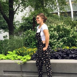 Floral overalls.